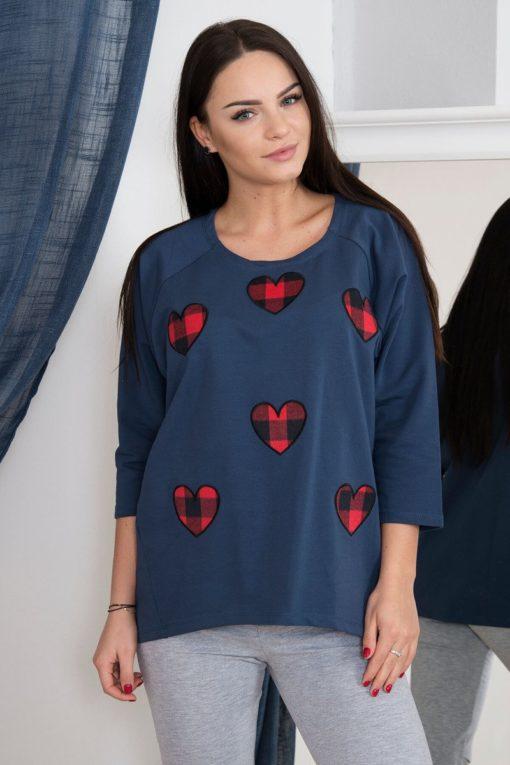 Bluză Cu Inimi în Carouri