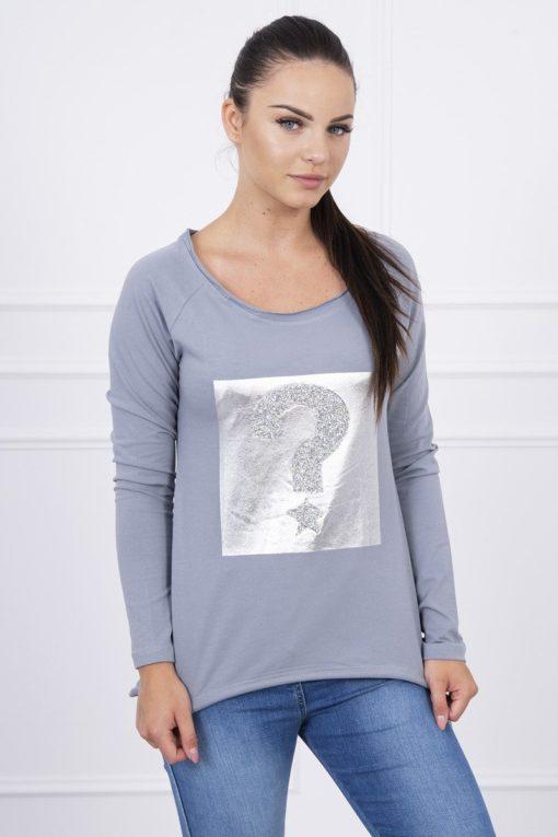 Bluză Cu Model Argintiu