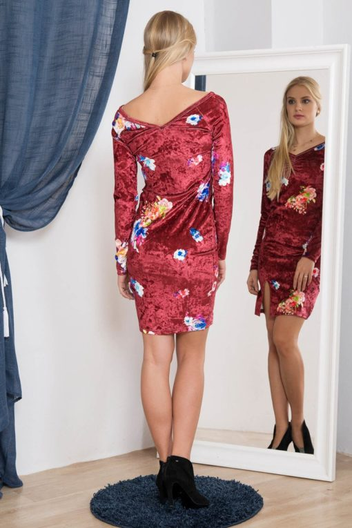Rochie Din Velur Cu Model Floral