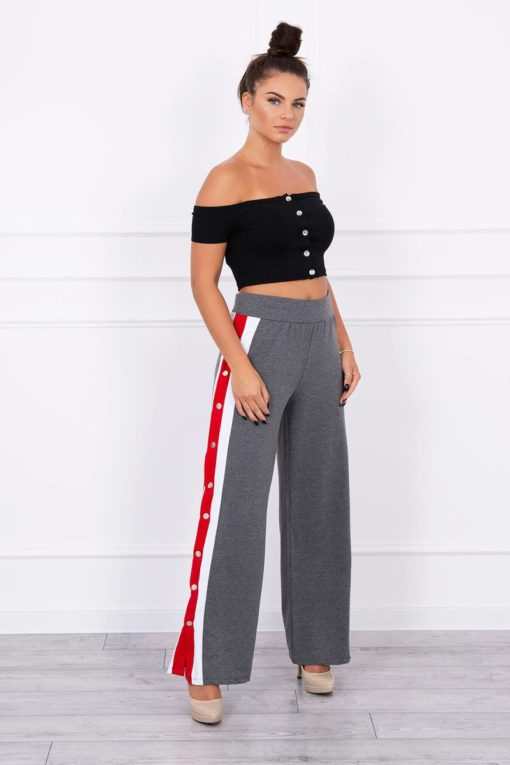 Pantaloni Cu Dungi Laterale Si Butoane