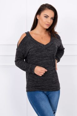 Eng Pl Blouse With Bare Shoulders Black