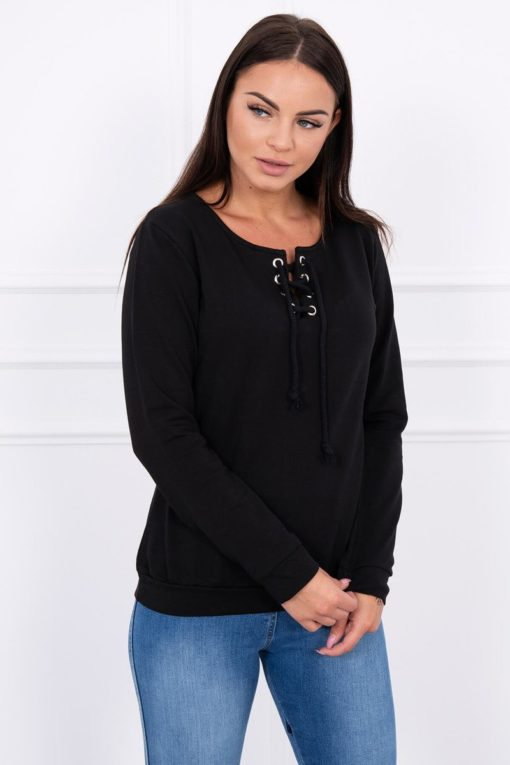 Eng Pl Sweatshirt With A Binding On The Collar Black