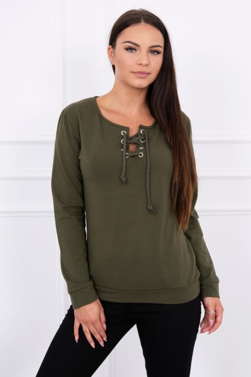 Eng Pl Sweatshirt With A Binding On The Collar Khaki