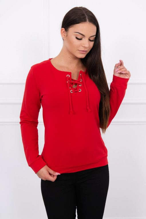 Eng Pl Sweatshirt With A Binding On The Collar Red