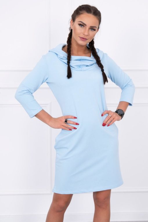 Eng Pl Dress With A Hood And Pockets Azure