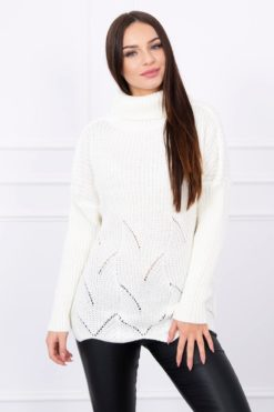 Eng Pl Sweater With Wave Ecru
