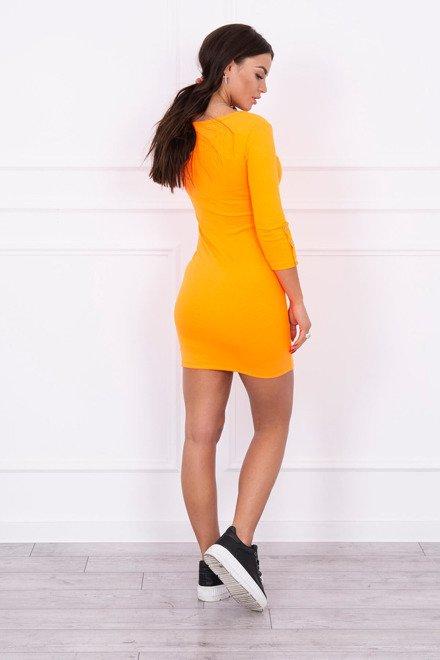 Rochie Cu Nasturi Pe Maneca Orange