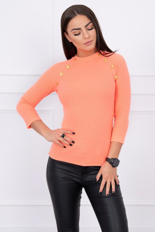 Eng Pl Blouse With Decorative Buttons Apricot
