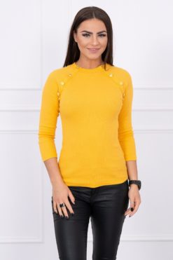 Eng Pl Blouse With Decorative Buttons Mustard