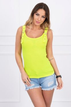 Eng Pl Blouse With Fastened Shoulder Straps Yellow Neon