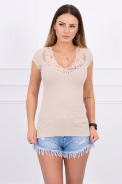Eng Pl Blouse With Lace Neckline Beige