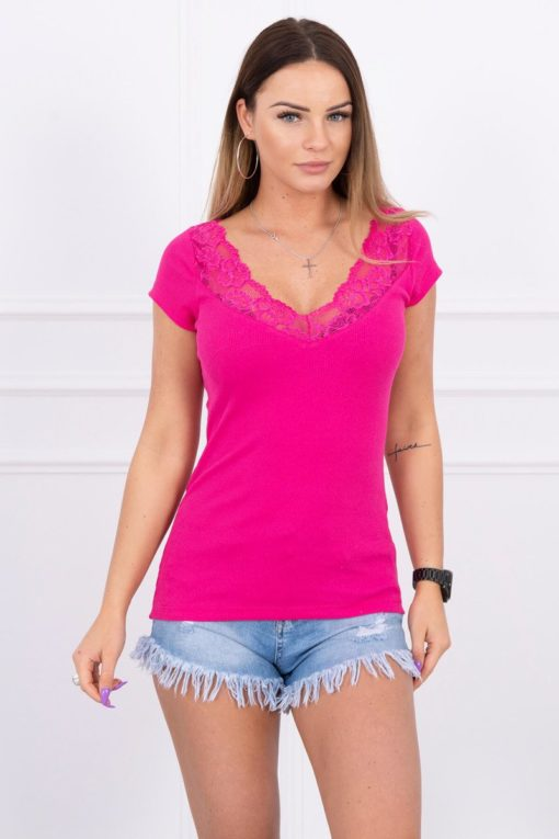 Eng Pl Blouse With Lace Neckline Fuchsia