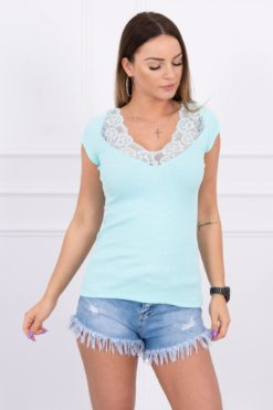 Eng Pl Blouse With Lace Neckline Mint