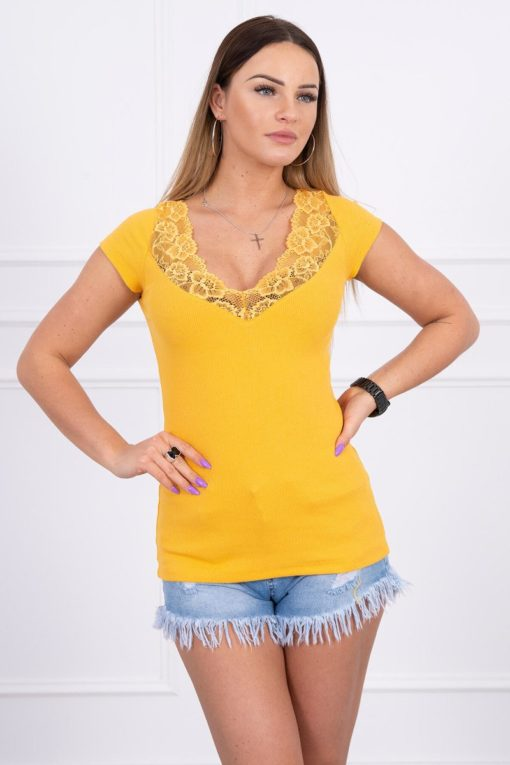 Eng Pl Blouse With Lace Neckline Mustard