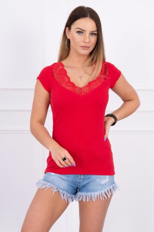 Eng Pl Blouse With Lace Neckline Red