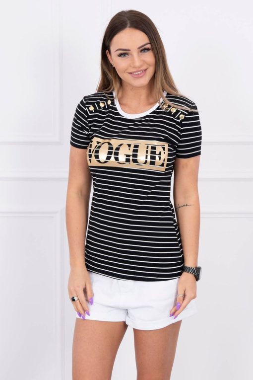 Eng Pl Blouse With Stripes Vogue Black