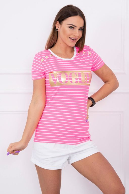 Eng Pl Blouse With Stripes Vogue Pink Neon