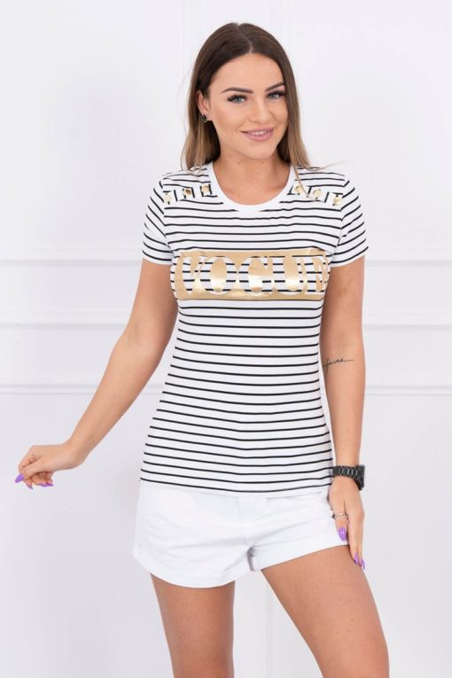 Eng Pl Blouse With Stripes Vogue White