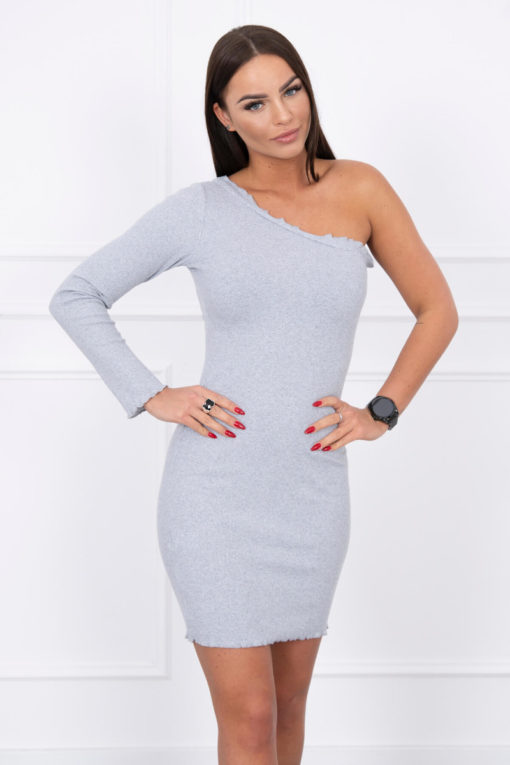 Eng Pl Dress Fitted On One Shoulder Gray