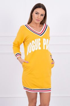 Eng Pl Dress V Neck Paris Mustard White