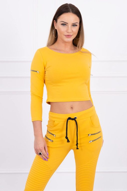 Eng Pl Set With Decorative Zips Mustard