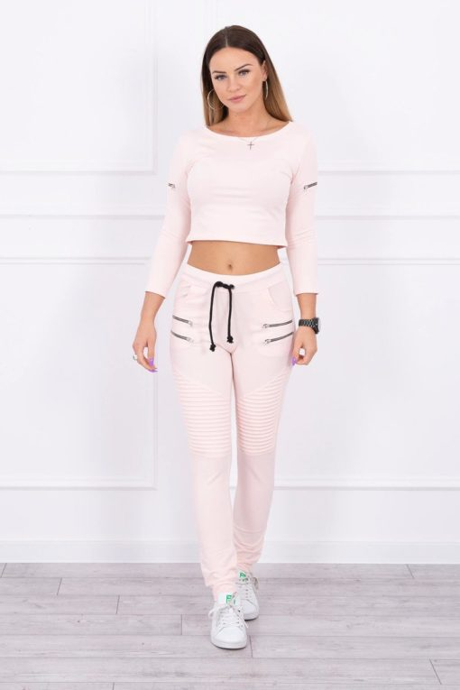 Eng Pl Set With Decorative Zips Powdered Pink