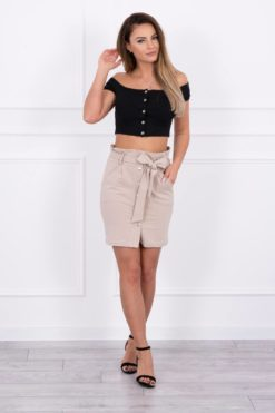 Eng Pl Skirt With Decorative Buttons Beige