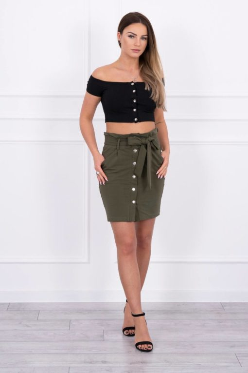 Eng Pl Skirt With Decorative Buttons Khaki