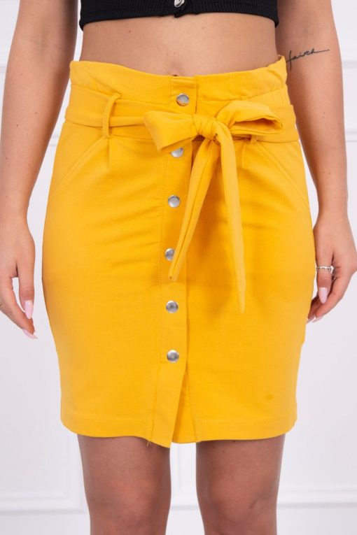 Eng Pl Skirt With Decorative Buttons Mustard