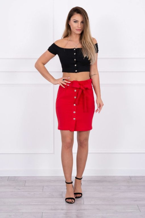 Eng Pl Skirt With Decorative Buttons Red