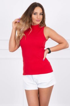 Eng Pl Sleeveless Blouse Red