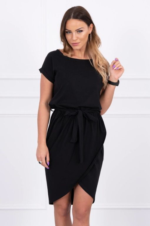 Eng Pl Tied Dress With An Envelope Like Bottom Black