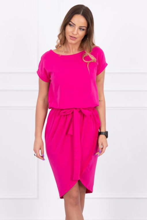 Eng Pl Tied Dress With An Envelope Like Bottom Fuchsia
