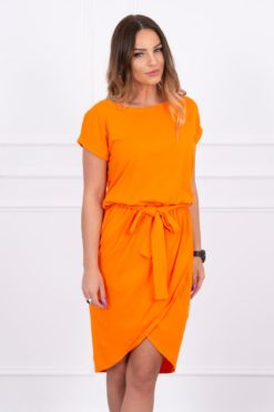 Eng Pl Tied Dress With An Envelope Like Bottom Orange