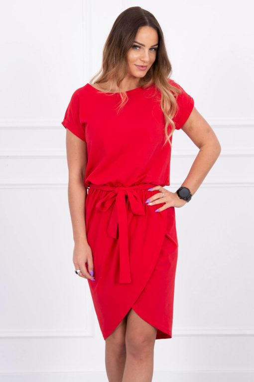Eng Pl Tied Dress With An Envelope Like Bottom Red