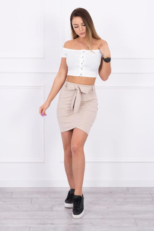 Eng Pl Wrap Skirt Tied At The Waist Beige