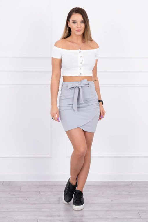 Eng Pl Wrap Skirt Tied At The Waist Gray