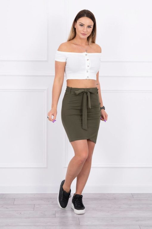 Eng Pl Wrap Skirt Tied At The Waist Khaki