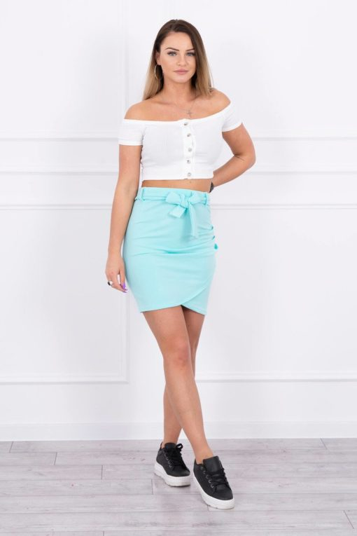 Eng Pl Wrap Skirt Tied At The Waist Mint