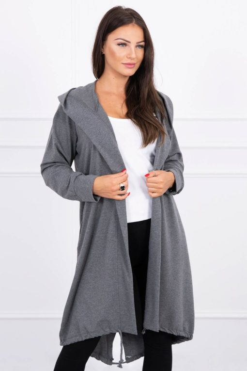 Eng Pl Cardigan With Print Oversize Graphite