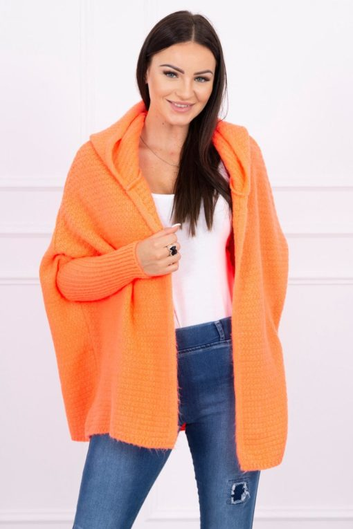 Eng Pl Hooded Sweater With Batwing Sleeve Apricot