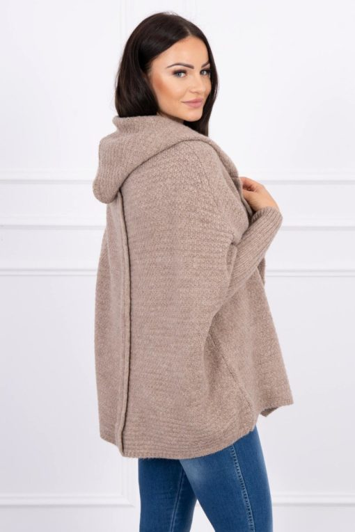 Eng Pl Hooded Sweater With Batwing Sleeve Cappuccino