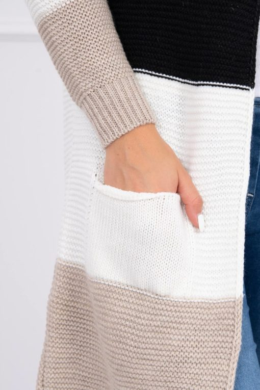 Eng Pl Sweater Cardigan In The Straps Beige Black