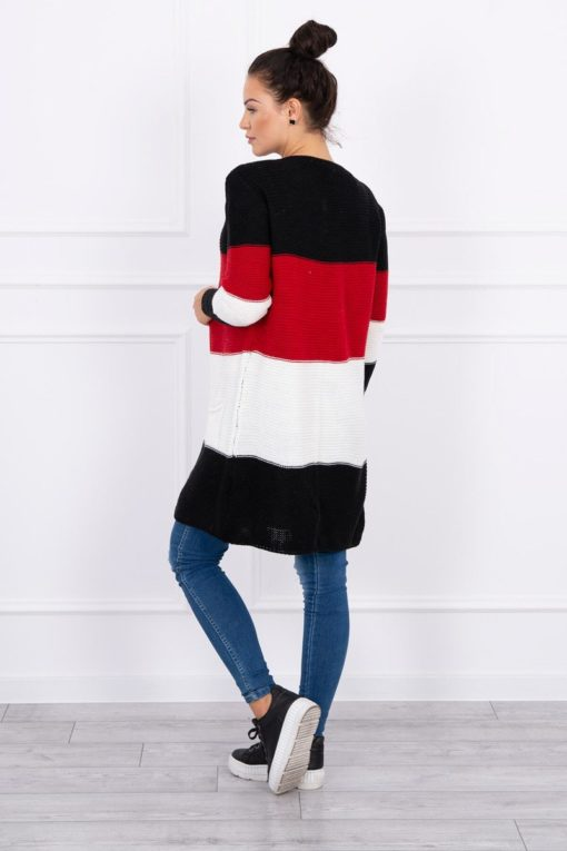Eng Pl Sweater Cardigan In The Straps Black Red
