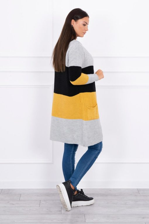 Eng Pl Sweater Cardigan In The Straps Gray Black