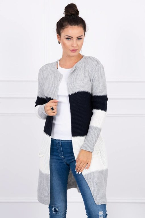 Eng Pl Sweater Cardigan In The Straps Gray Navy Blue