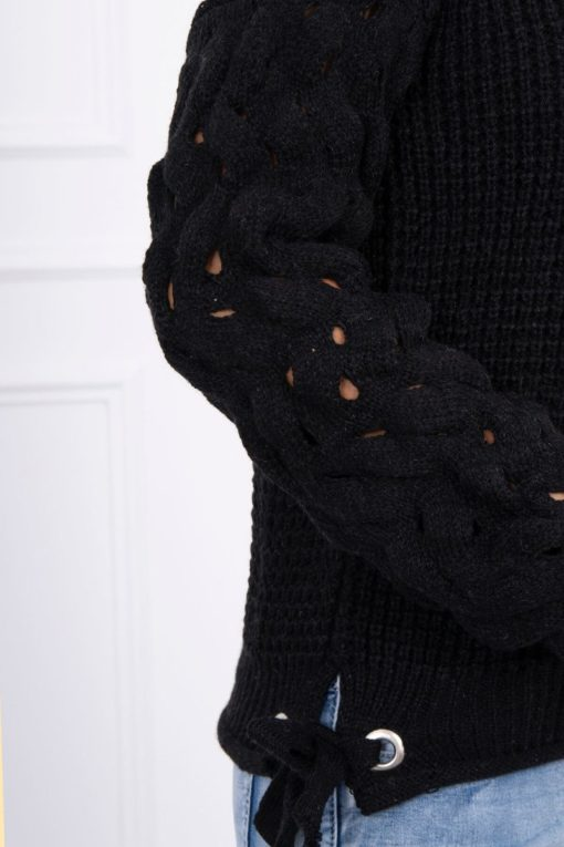 Eng Pl Sweater Tied At The Bottom Black