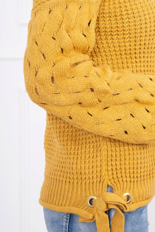 Eng Pl Sweater Tied At The Bottom Mustard
