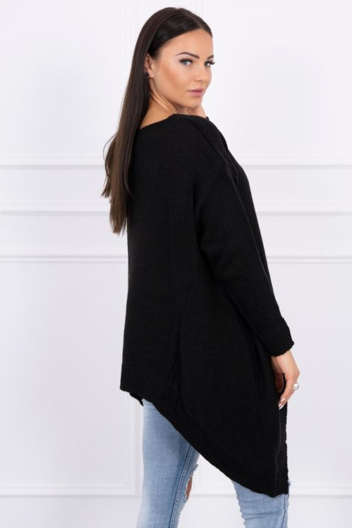 Eng Pl Sweater With Longer Sides Black