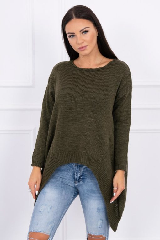 Eng Pl Sweater With Longer Sides Khaki
